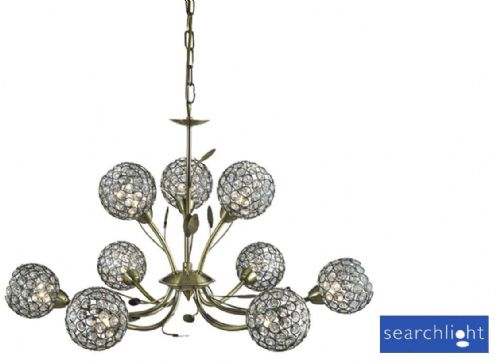 Bellis Ii - 9 Light Ceiling Pendant Antique Brass With Clear Glass Deco Shades 5579-9Ab